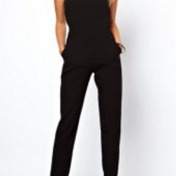 Black Cut Out Sleeveless Jumpsuit