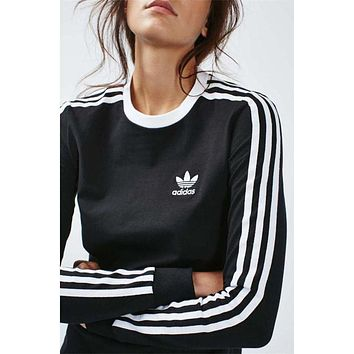 Adidas Trending Originals Red Three Stripe Casual Fashion Long Sleeve Tee T-Shirt I Sweater Top I