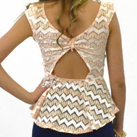 Adler Vines Peach Chevron Lace Bow Peplum Top