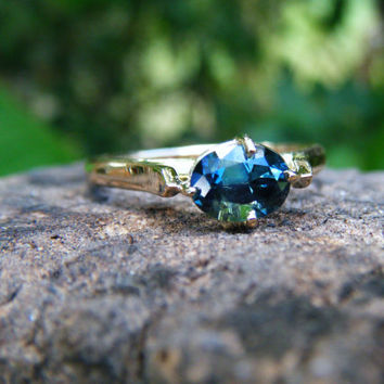 Blue green sapphire ring, sapphire engagement ring, green blue sapphire, alternative engagement ring, conflict free, size 5 6 7 8 9