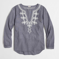 Factory embroidered chambray top : Blouses & Tees | J.Crew Factory
