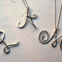 Sterling Silver Custom Large Initial Necklace Personalized gift Personalized Bridesmaid Gifts Girlfriend gifts