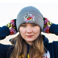 Embroidered Maryland Full Flag Crab (Grey) / Slouchy Knit Beanie Cap