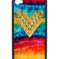 Tie Dye Gold Studded Heart iPhone 4/4s Case