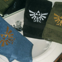 Legend of Zelda Royal Crest Embroidered Plush Bath Towel In Olive, Aqua, Black and Gold or Silver