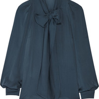 Gucci - Pussy-bow silk-georgette top