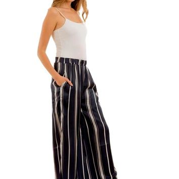 Chic Striped Wide Legged Pants, Navy