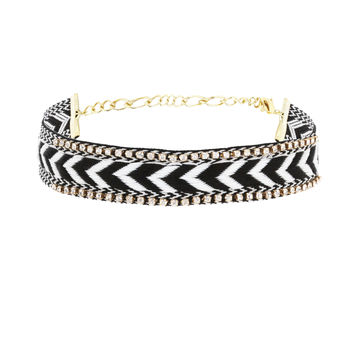Earn your Stripes Choker in Black, White, and Gold