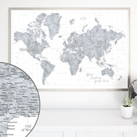 Custom quote - highly detailed world map printable with cities, capitals, countries, US States... labeled. Color combination: Marissa