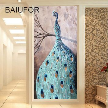 BAIUFOR diamond painting peacock cross stitch full diamond mosaic embroidery rhinestones picture diy hobby arts home decoration