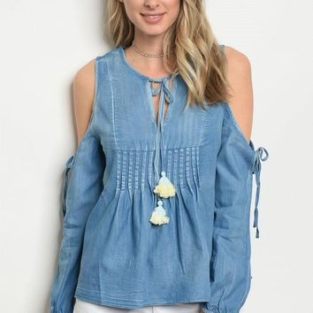 Women Denim Cold Shoulder Peasant Boho Top Blouse Shirt Relaxed Fit Tunic Tassel