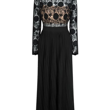 Black Lace Top Long Sleeve Pleated Maxi Dress