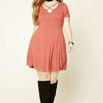 Totally Smitten Brick Dark Pink Skater Dress