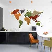 World Map Spicy Sticker - Moon Wall Stickers