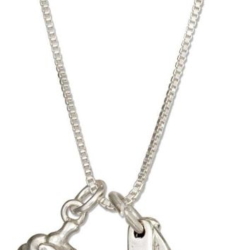 """Sterling Silver 18"""" Measuring Spoons And Cupcake Necklace"""