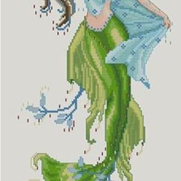 Needlework,DIY Cross Stitch,Sets For Embroidery kits,14CT&16CT&18CT,Green mermaid