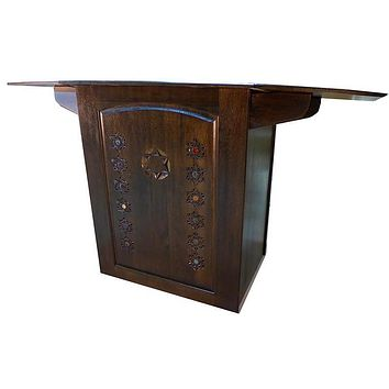 Bimah Wood Table With Folding Top Side Wings