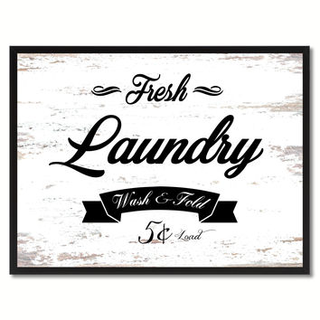 Fresh Laundry Vintage Sign White Canvas Print Home Decor Wall Art Gifts Picture Frames