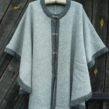 Pure Wool Poncho Grey, Red and White Quality Knitting