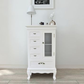 French Curved Legs White Cabinet