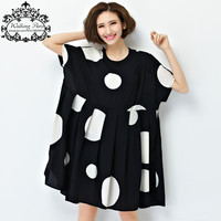 New Summer Dress Plus Size Women Chiffon Polka Dot Clothing Loose Big Size Female Casual Dress Soft Draped Fashion Clothing 4XL