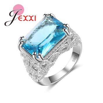 JEXXI New Big Rectangle Blue Crystal Women 925 Sterling Silver Rings For Engagement Accessory Fashion Brides Wedding Bands Ring