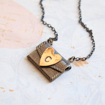 25%OFF-Love Letter Necklace, Secret Message, Envelope Necklace, Personalized Necklace, Initial Necklace, Locket, Antique Style