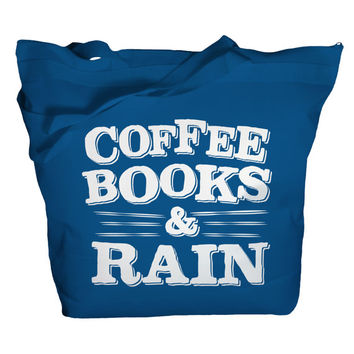 Tote Bag Coffee Books Rain Totes Reader Bags Librarian Bags Zip Top Zipper Book Totes