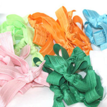 12 Elastic Hair Bands - No Tug Hair Bands - Soft Stretchy Hair Ties - Stocking Stuffer For Girls - Colorful Hair Scrunchies - Girls Gift