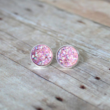 B L U S H  - Blush Pink Iridescent Chunky Sparkle, Faux Druzy, Silver Plated Stud Earrings, 12mm