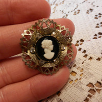 Vintage Silvertone Black White Plastic Cameo Brooch Clear Rhinestone Accents