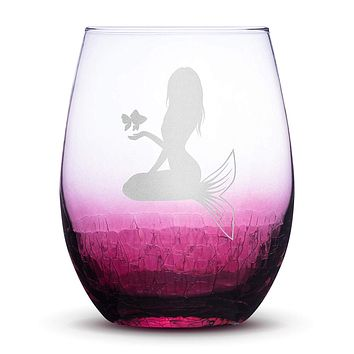 Crackle Light Red Wine Glass, Mermaid Kneeling Fish Design #5, Hand Etched, 16oz