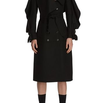 Burberry Asymmetrical Ruffle Wool Coat | Nordstrom