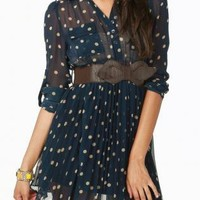Pleated Navy polka dot dress