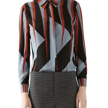 Women's Triangle Print Silk Shirt - Gucci - Dusty avio print (42)