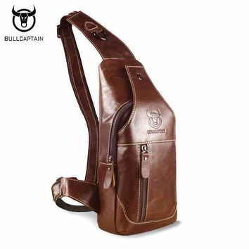 BULL CAPTAIN 2017 Fashion Genuine Leather Crossbody Bags men casual messenger bag Small Brand Designer Male Shoulder Bag 019