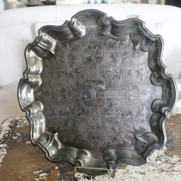 Antique Vintage Round Scallop Footed Silver Trophy Tray Engraved French Country Farmhouse Shabby Chic