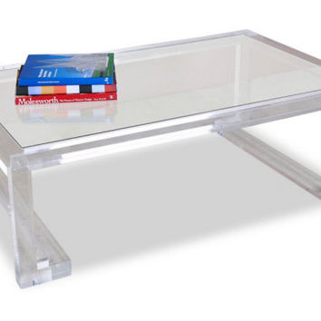 Ainsley Acrylic Cocktail Table, Acrylic / Lucite, Sofa Table, Coffee Table