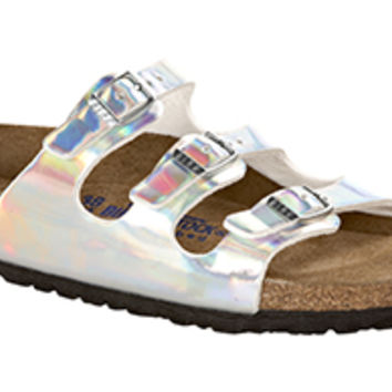 Florida Soft Footbed Mirror Silver Birko-Flor Sandals | Birkenstock USA Official Site