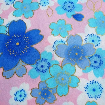 Japanese Kimono Cotton Fabric Pink wiht bright blue sweet Japanese Sakura, Japanese Blossom, 100% cotton, gift for her, summer,ipad case