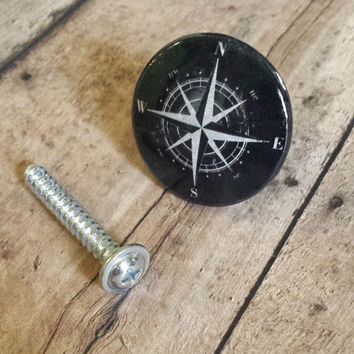 Handmade Nautical Birch Wood Knob Drawer Pulls, Gray On Black Compass Cabinet Pull Handles, Sea Dresser Knobs, We Make Customized Orders
