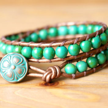 Moss Green Magnesite gemstone leather wrap bracelet, boho stacking bracelet, bohemian artisan jewelry, layering, hipster, gift idea