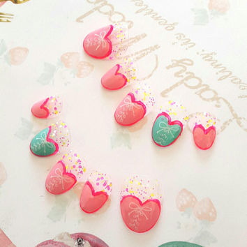 Japanese kawaii nail art false nail, fake nails,Valentine nails, cute heart, pink and pastel blue, simple nail, lolita accessory, fairykei