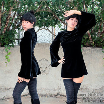 Black Velvet Witchy Dress - Witch Minidress - Custom Made to Order - Handmade for You - Sixties Mod Goth