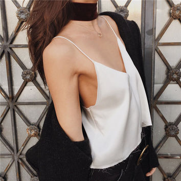 Fashion 2017 New Summer Adjustable Spaghetti Strap Deep V-Neck Backless Camisole Crop Top Sexy Satin Slip Women Cropped Tank Top
