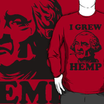 george washington smoking pot crew neck
