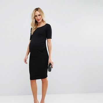 ASOS Maternity PETITE Bardot Dress With Half Sleeve at asos.com