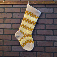 Striped Christmas Stocking, Hand Knit in Yellow and Gold, Zigzag Stocking, Can Be Personalized, Housewarming Gift, Wedding Gift, Baby Gift