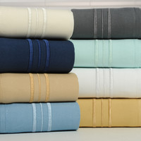 1800 Count Bamboo Egyptian Comfort Extra Soft 3 Line Embroidered Bed Sheets 4 Piece Set - 6 Colors