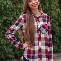 Keep In Mind Plaid Top - Red and Navy